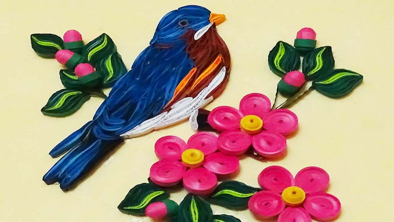 Papercraft quilling artwork | How To Make Beautiful Blue Bird | Paper Quilling Tutorial
