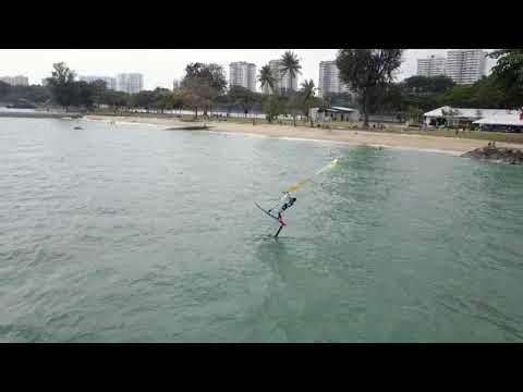 Foiling at Aloha surf, Singapore