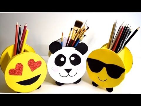 {DIY} Pencil Holders Emoji and Panda | Cardboard Storage