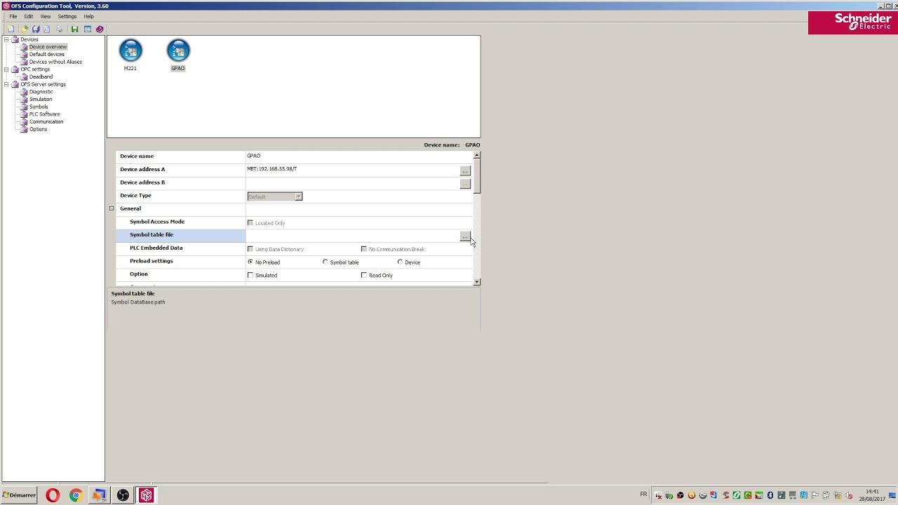 Communication API/PC via Modbus TCP/IP pour Client OFS
