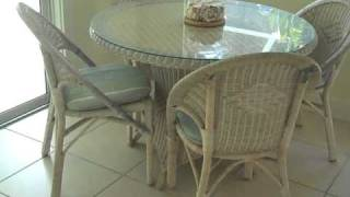 Round Glass Top Wicker Table And 4 Chairs