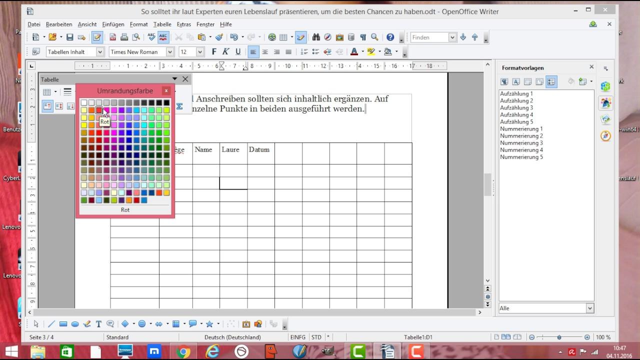 openoffice tabelle erstellen zeile und spalten einf gen