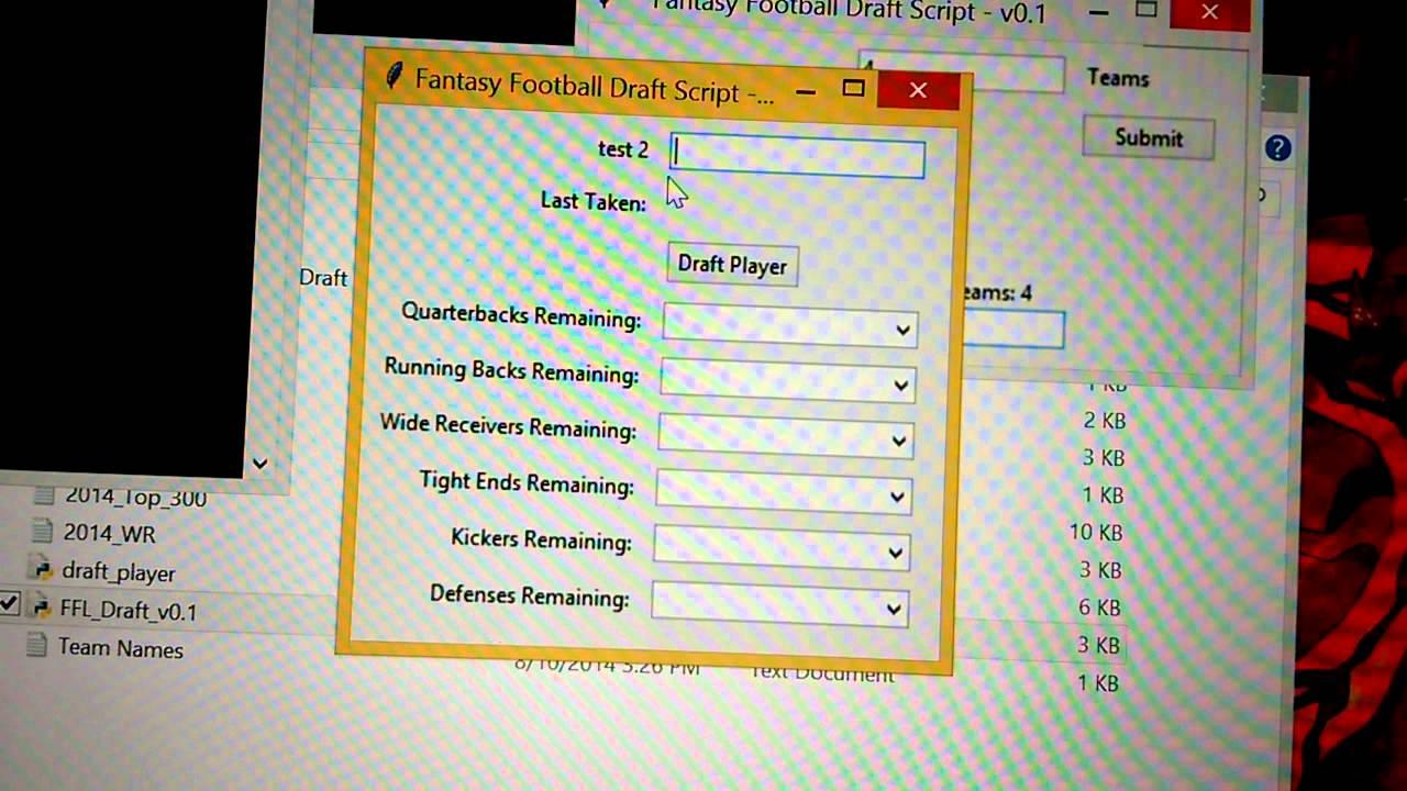 ESPN Fantasy Football Offline Draft Tool