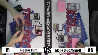 MTG - Modern Gameplay: 4-Color Burn vs Mono Blue Merfolk