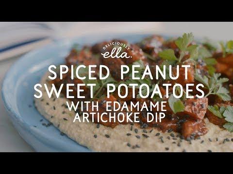 Spiced Peanut Sweet Potatoes & Edamame Dip | Vegan | Deliciously Ella