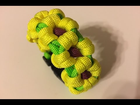 0de73cd7dc38 Teje una Flor de Girasol con Paracord para Pulsera   How to Weave a  Sunflower Paracord Bracelet
