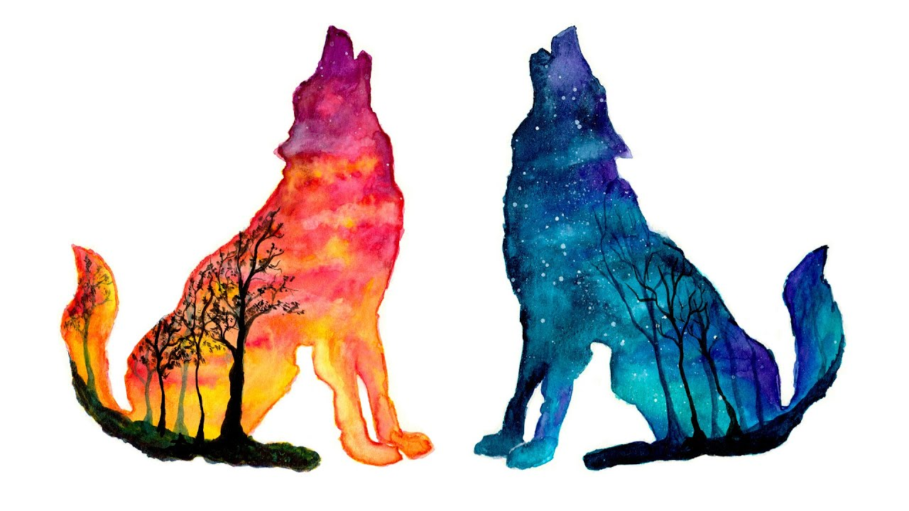 Day Amp Night Wolves Double Exposure Speed Painting