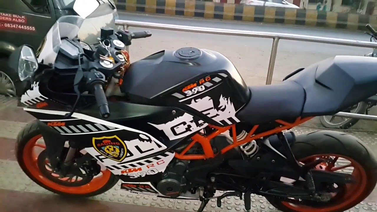 ktm rc390 sticker job / exhaust note/led blinkers 2016. - youtube