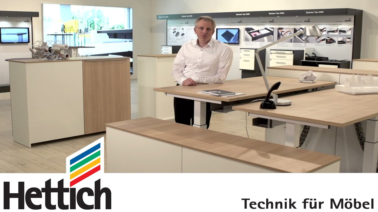 Technology For Furniture In Offices: Hettich Height Adjustable Tables,  Drawer + Sliding Door Systems   YouTube