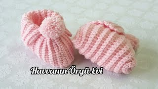 Tığ işi pomponlu kolay bebek patiği (English Subtitles) / Very Easy Crochet Baby (New Born) Booties
