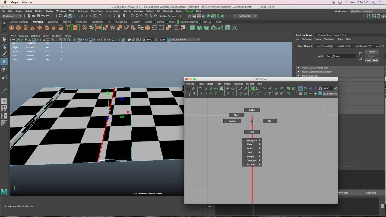 How to UV map custom floor in Maya2017