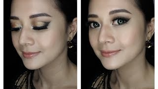 Gold smokey eye, party makeup tutorial