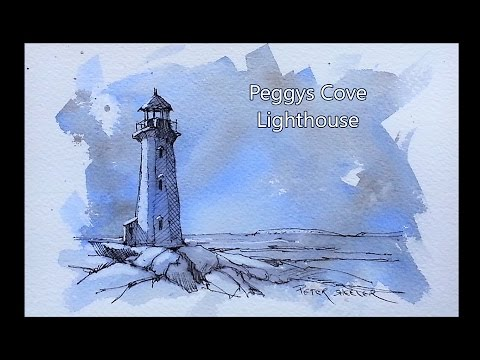 Peggys Cove Lighthouse. Pen and Ink Sketch on Tinted Paper. Great Beginner Lesson. Peter Sheeler