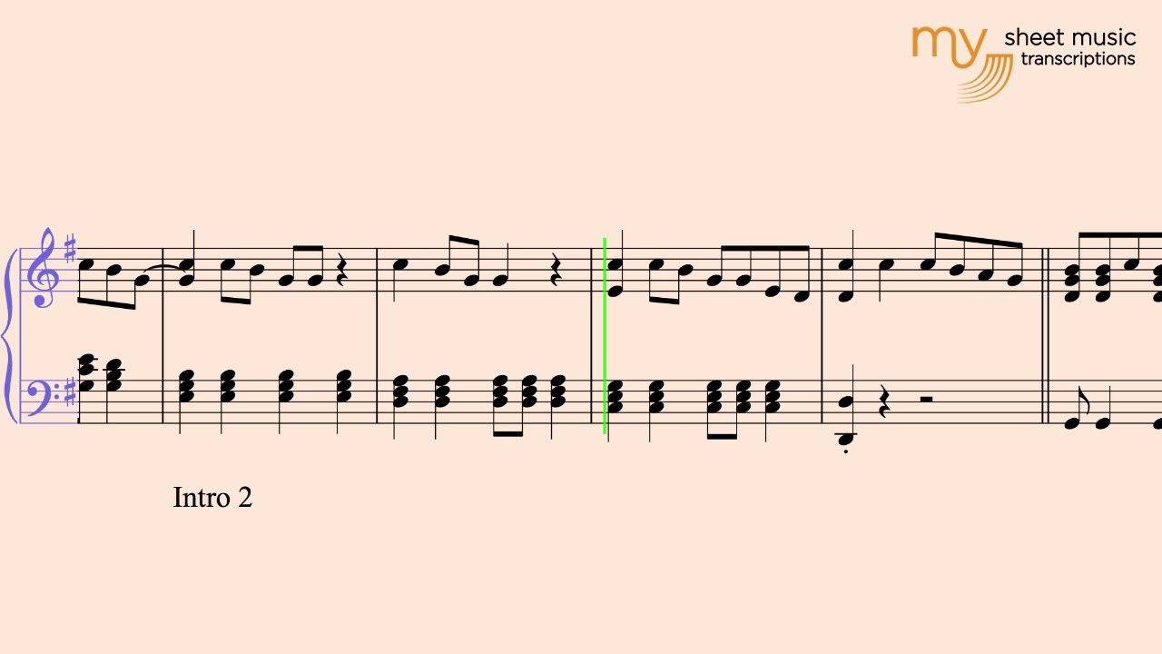 Psych Theme - Piano Sheet Music Transcription