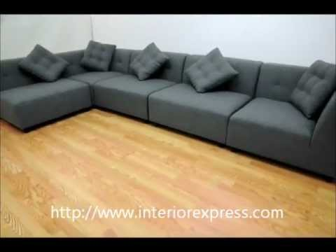 alcoa gray fabric modular modern sectional sofa