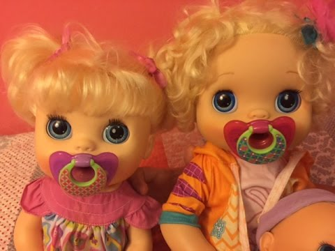 BABY ALIVE outing with with Gracie and Kaylyn trying new binkies