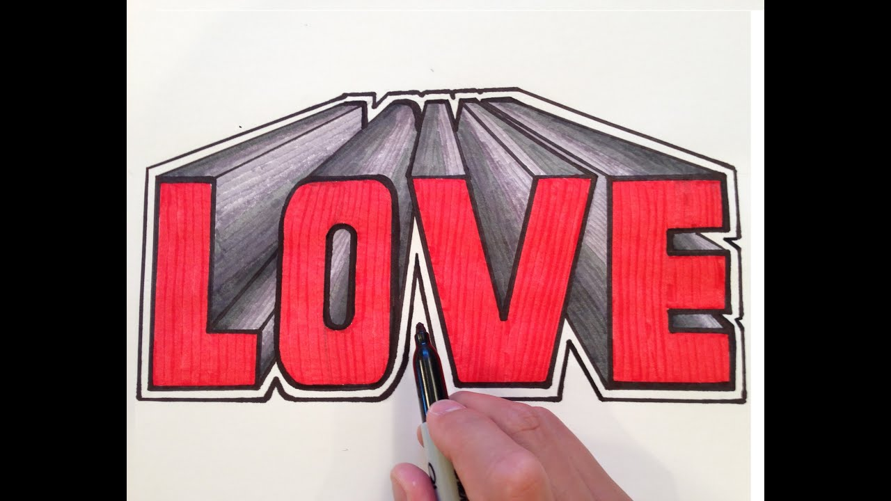 How to draw love in 3d one point perspective