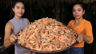Wow yummy cooking shrimp 10 kg salad recipe with my sister