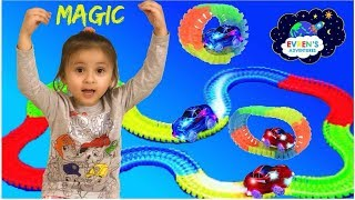 MAGIC TRACKS TOY CARS CHALLENGE GAMES! As Seen on TV Glowing Racetrack Surprise Toys Kids Fun Games