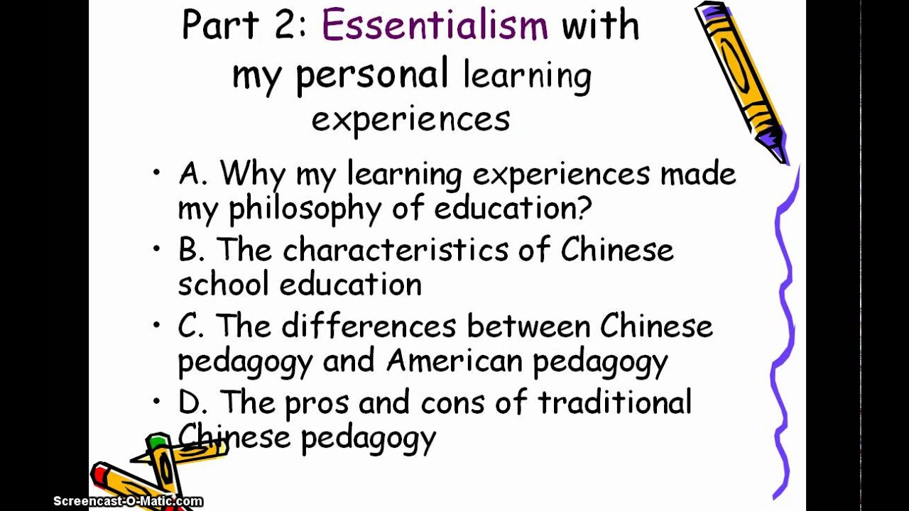 educational theory essentialism and perennialism essay An overview of essentialism and perennialism, their philosophical definitions, historical underpinnings, and their role and impacts on student learning in public school education environments is presented.