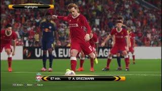 Liverpool v Leipzig Highlights PES2018 Europa League quarter final 1st leg,Master League
