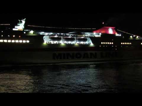 Night cruise ship in Crete, Heraklion, Greece