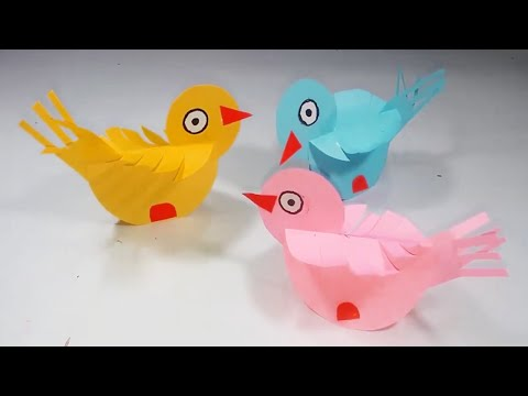 DIY : Beautiful Paper Bird For... kids crafts || Easy Paper Birds Making...........!!