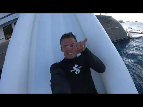 Yacht slide, pool, golf & climbing wall rental mashup
