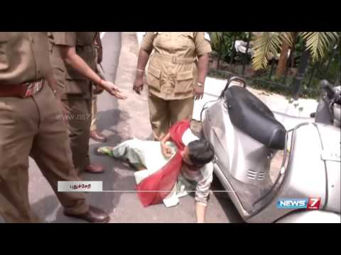 Police forces and drags woman from protesting in foot path | Puducherry | News7 Tamil |