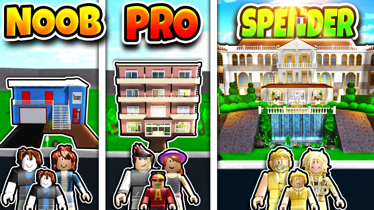 Roblox NOOB vs PRO vs ROBUX SPENDER FAMILY HOTEL BUILD CHALLENGE in BLOXBURG