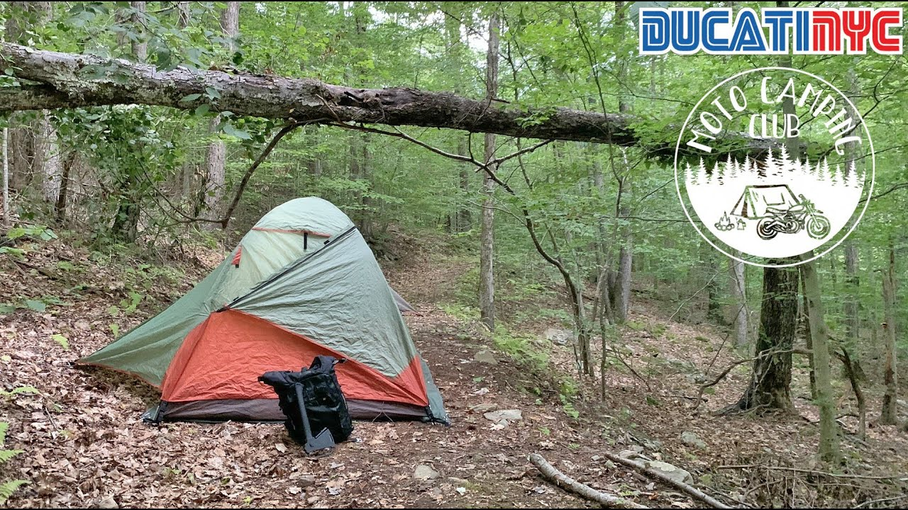 Catskill Forest and banter w/ MotoNoir | Tent and Camp Setup | Ducati x Moto Camping Club HQ v1325