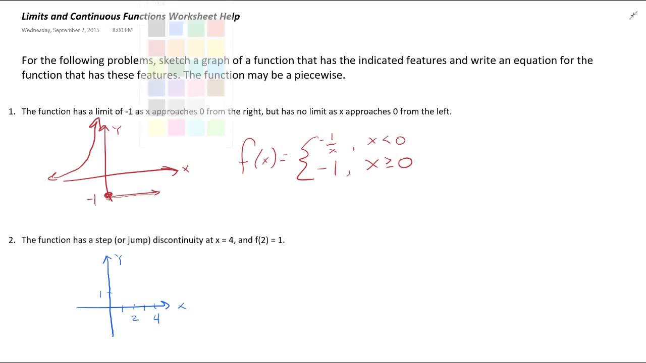 worksheet One Sided Limits Worksheet limits and continuous functions worksheet help youtube