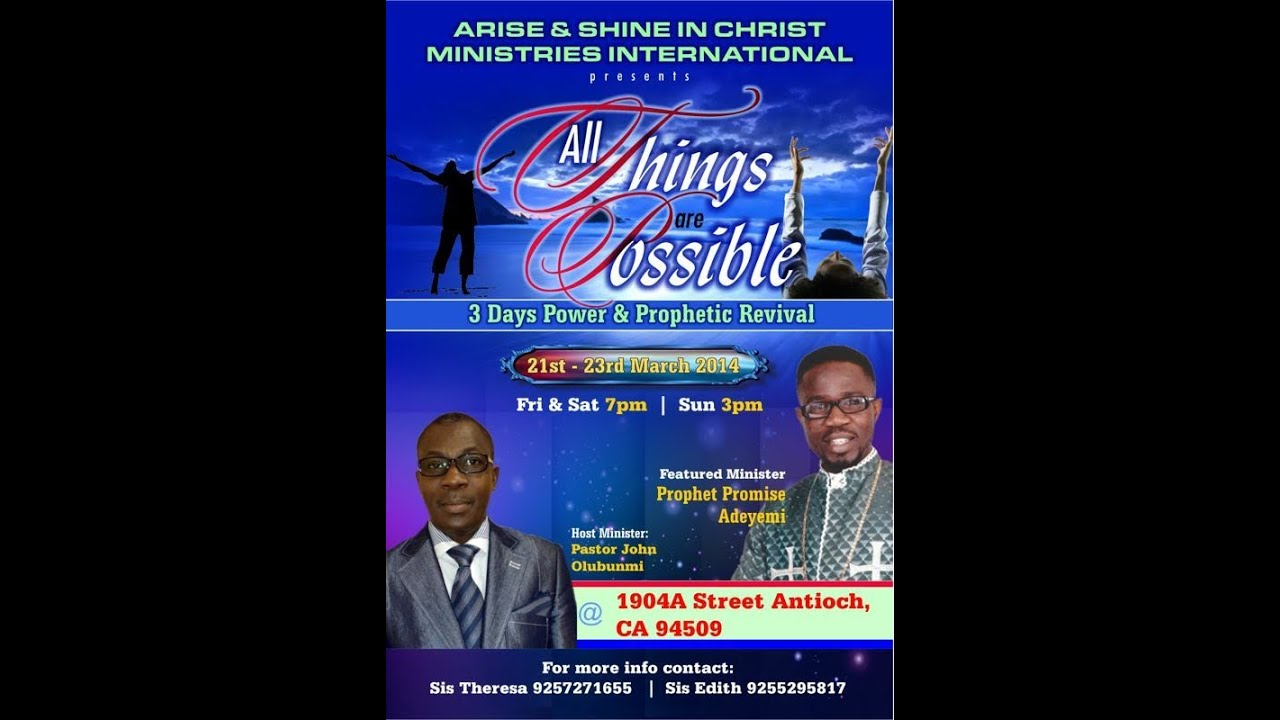 ARISE AND SHINE IN CHRIST MINISTRIES ANTIOCH CA