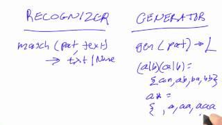 Recognizers And Generators - Design of Computer Programs