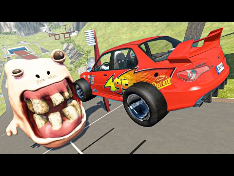 High Speed Crazy Cars Jumping Into Rotten Mouth - BeamNG Drive Cars Crashes & Fails Compilation