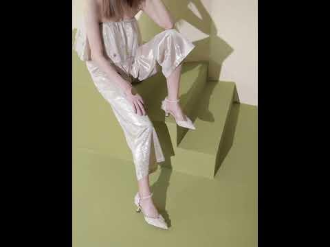 HG19SP342XT521 착화감 좋은 여성화 페브릭 발목 스트랩 하이힐 스틸레토 6cm