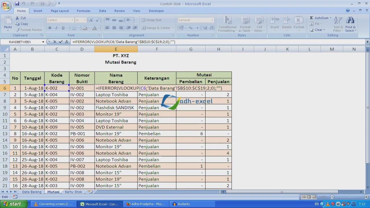 Membuat Laporan Stok Barang Dengan Rumus Dalam Microsoft Excel Adhe Pradiptha