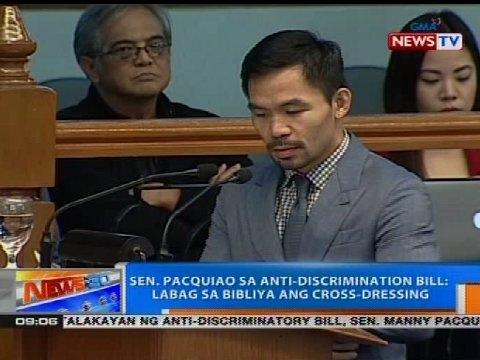 Sen. Pacquiao sa anti-discrimination bill: Labag sa bibliya ang cross-dressing