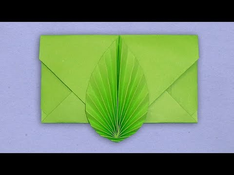 Envelope Making With Color Paper Without Glue Tape & Scissor - DIY Leaf Envelope Easy Tutorial