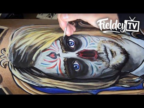 Zombie skateboard art - painting Day of the Dead Kurt Cobain