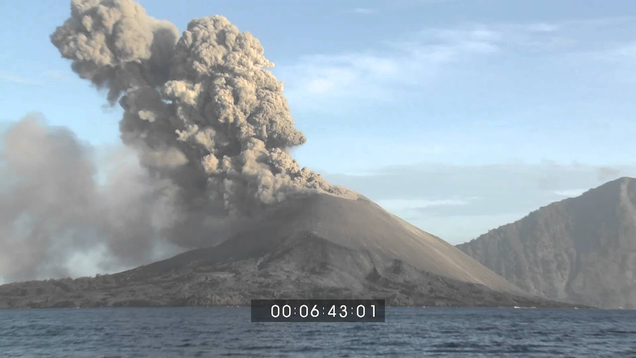 anak krakatau volcanic eruption wide angle and volcanic