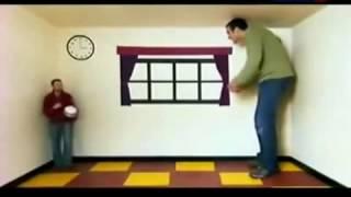 видео Оптическая иллюзия - трапециевидное окно Эймса