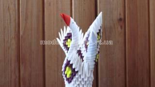 Модульное оригами. Лебедь (собран из 300 модулей).