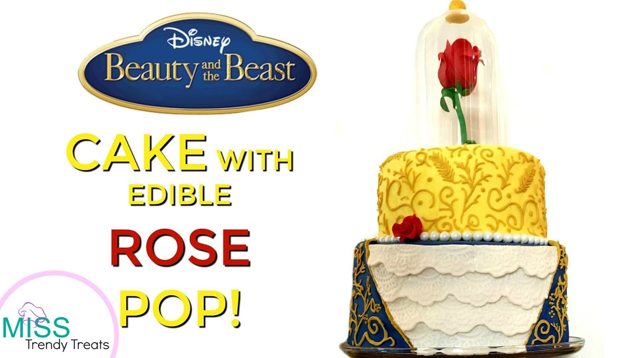 BEAUTY AND THE BEAST CAKE WITH EDIBLE ROSE POP MISS TRENDY