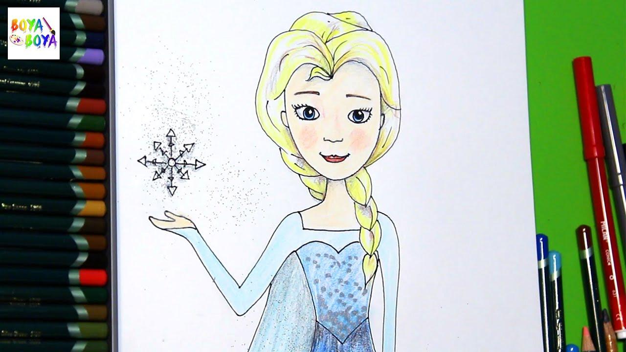 Frozen Karlar Ulkesi Kralicesi Elsa Nasil Cizilir Boya Boya