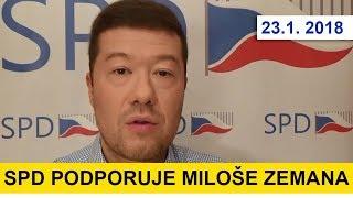 SPD a Tomio Okamara podporuje prezidenta Miloše Zemana v druhém kole voleb