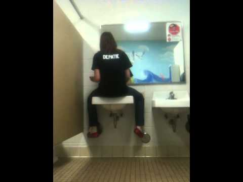 Brunette Mercedes. Girl pee in sink video
