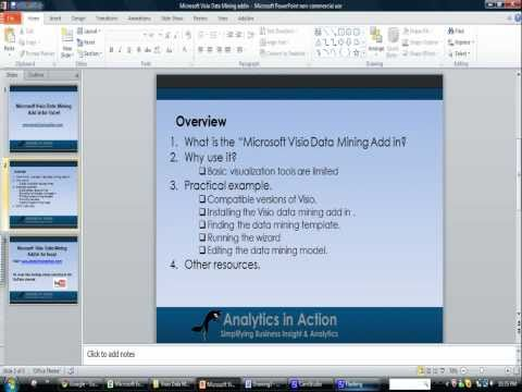 Microsoft Visio Data Mining  Add In For Excel  Demonstration