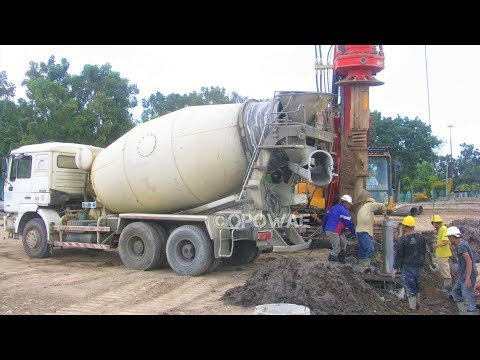 Ready Mix Concrete Cement Mixer Truck Working On Deep Foundation Construction