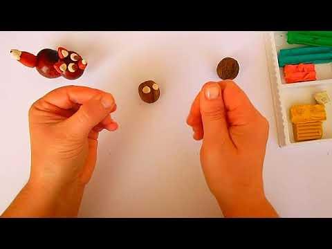 """3 клас. Мистецтво. Робимо скульптуру з природних матеріалів (каштани, горіхи) """"Півник та курочка"""""""